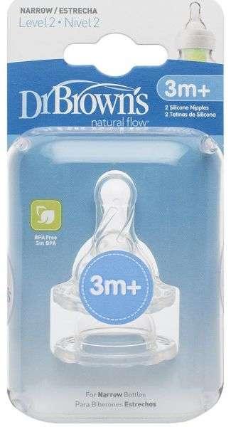 Dr.Browns Wide Neck Barošanas pudeļu knupīši  ar regulējamu tecēšanas ātrumu no 3+ (2 gab.)