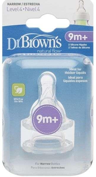 Dr.Browns Wide Neck Barošanas pudeļu knupīši  ar regulējamu tecēšanas ātrumu no 9+ (2 gab.)
