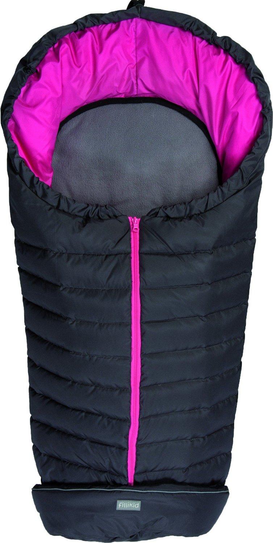 Fillikid Kiew dark grey/pink Footmuff Dūnu ziemas guļammaiss ratiem ar atpogājamo muguru daļu 100 x 50 cm
