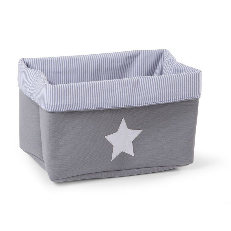 Kaste mantu glabāšanai 32x20x20 сm CHILDHOME Canvas box grey stripes