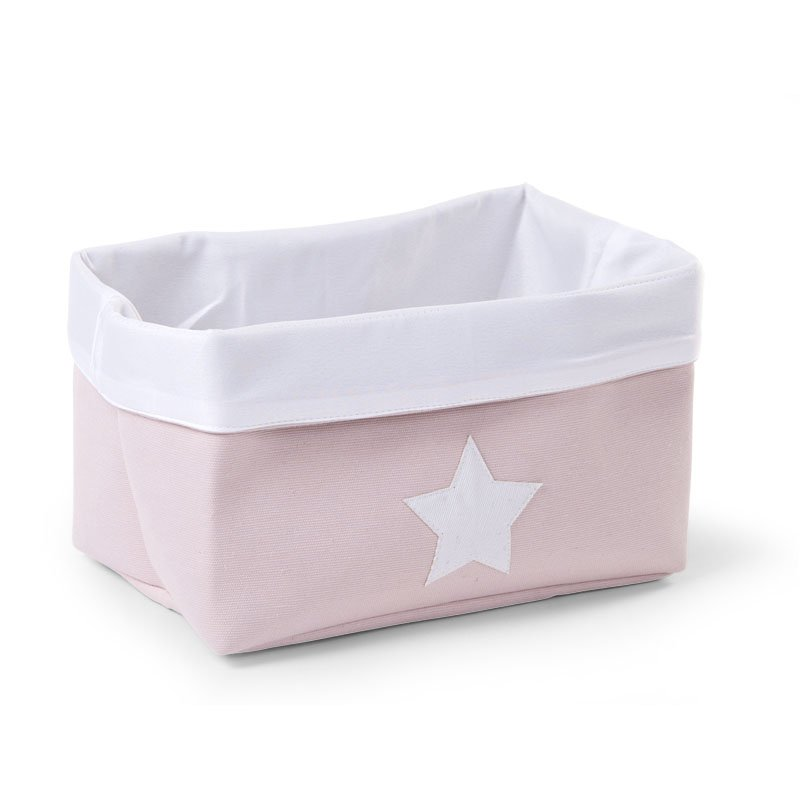 Kaste mantu glabāšanai 32x20x20 сm CHILDHOME Canvas box pink white