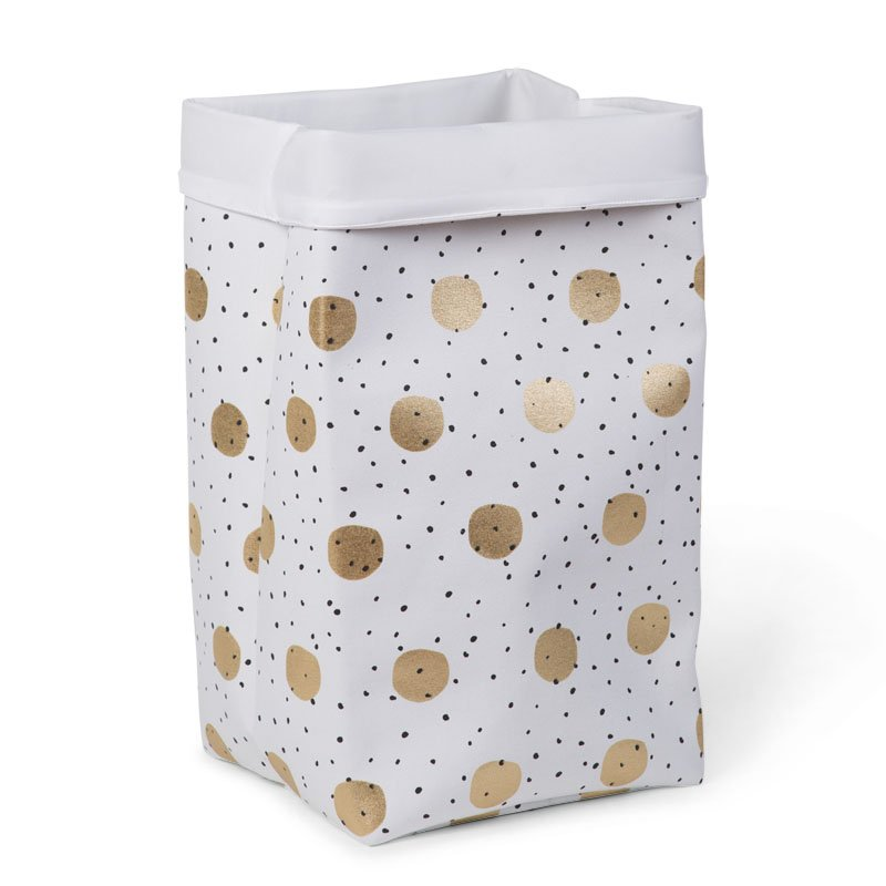 Kaste mantu glabāšanai 32x32x60 сm CHILDHOME Canvas box gold dots
