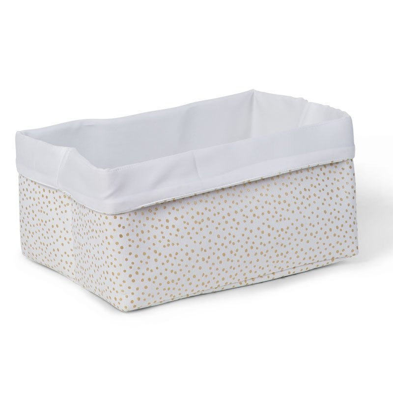 Kaste mantu glabāšanai 40x30x20 см CHILDHOME Canvas box gold small dots