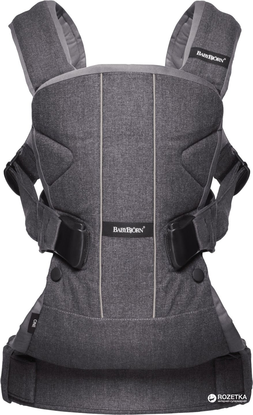 Ķengursoma BabyBjorn Baby Carrier ONE Cotton Mix Denim grey/Dark grey 093094