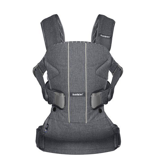 Ķengursoma BabyBjorn Baby Carrier ONE Cotton Mix grey/pinstripe 093034