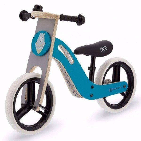 KinderKraft Balance Bike Uniq Turquoise Bērnu skrējritenis ar koka rāmi