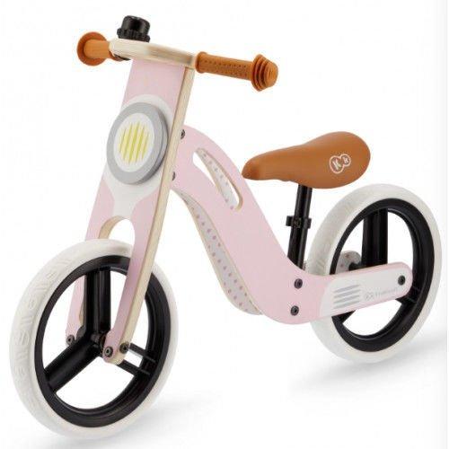 KinderKraft Balance Bike Uniq Pink Bērnu skrējritenis ar koka rāmi