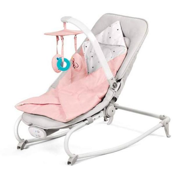 KinderKraft Felio Pink Stilīgs mazuļu šūpuļkrēsls ar mūziku un vibrāciju