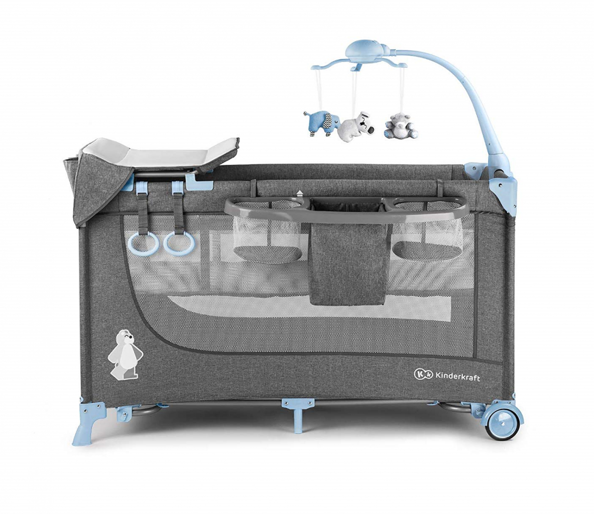 KinderKraft Joy BLUE Divlīmeņu bērnu ceļojumu gultiņa