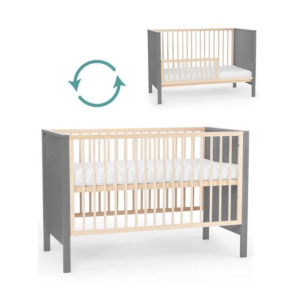 Kinderkraft Mia 2in1 Grey Bērnu gulta + Matracis 120 x 60 cm