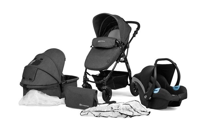 Kinderkraft Moov Black Bērnu rati 3in1