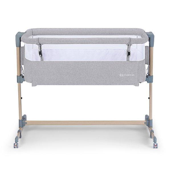 KinderKraft Neste Air Grey wood Bērnu gultiņa 2in1