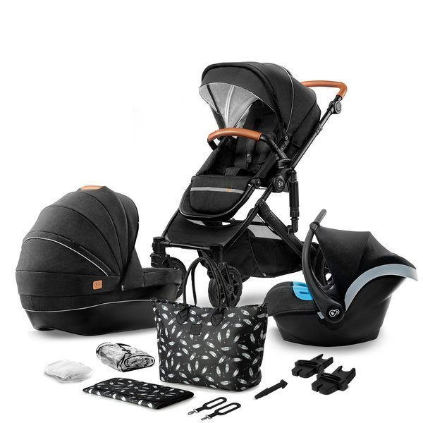 Kinderkraft Prime Black Bērnu rati 3in1