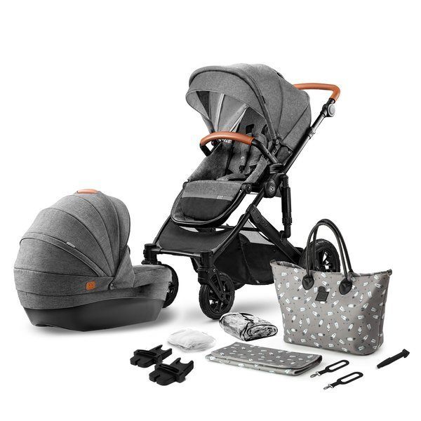 Kinderkraft Prime Grey Bērnu rati 2in1