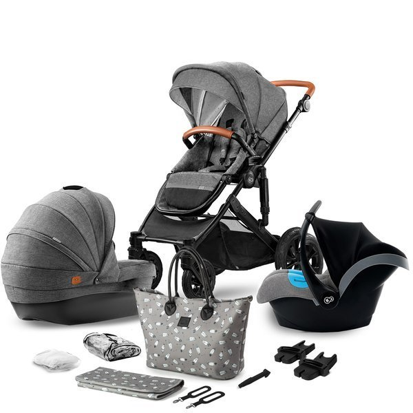 Kinderkraft Prime Grey Bērnu rati 3in1