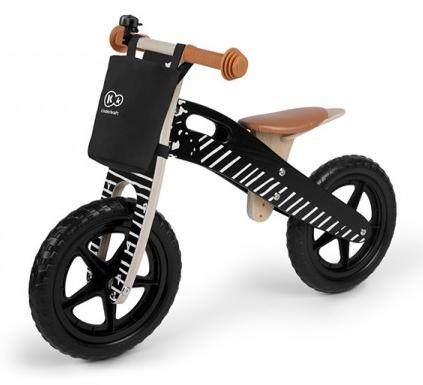 KinderKraft Runner Vintage Black Bērnu skrējritenis ar koka rāmi