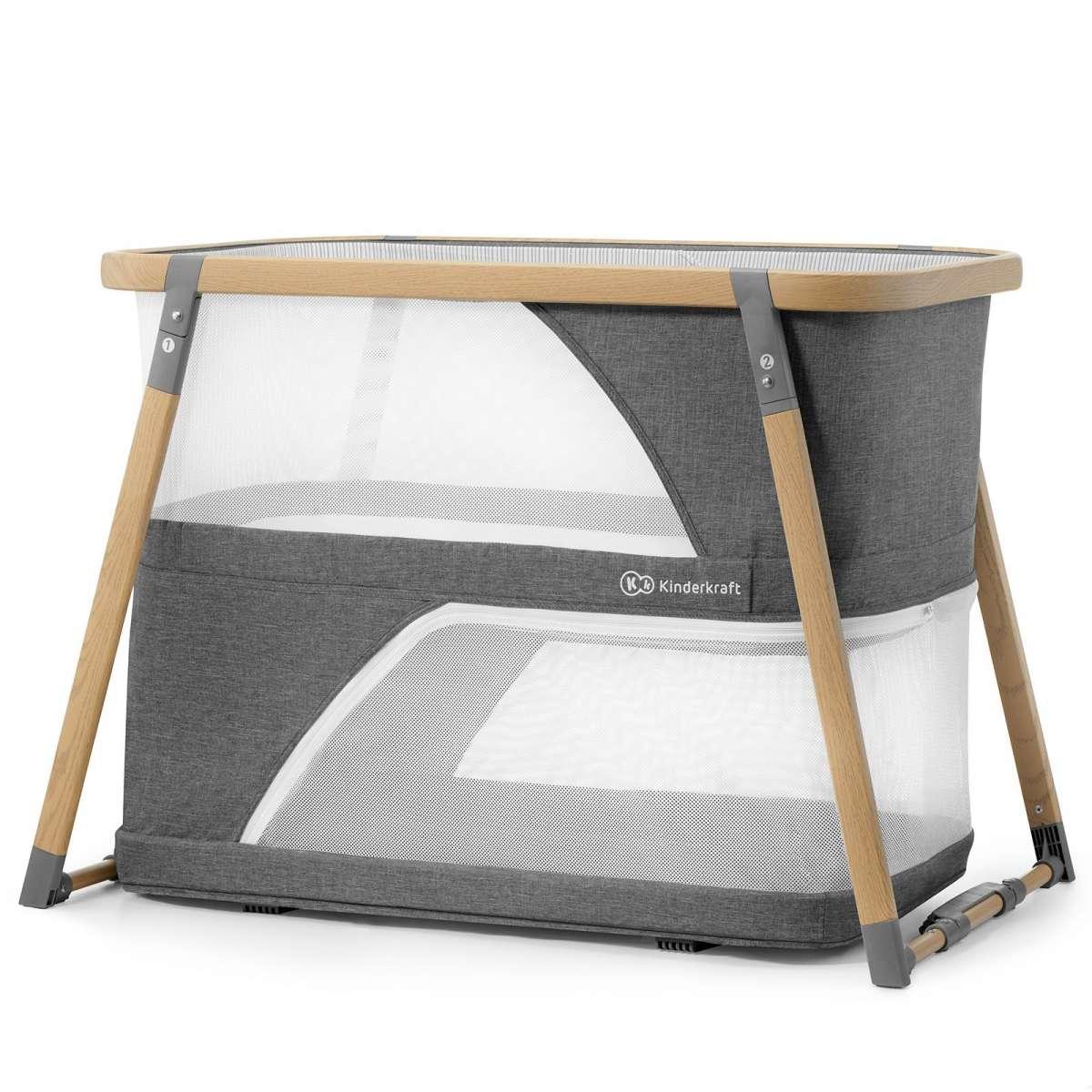 KinderKraft Sofi Grey Divlīmeņu bērnu ceļojumu gultiņa 4in1