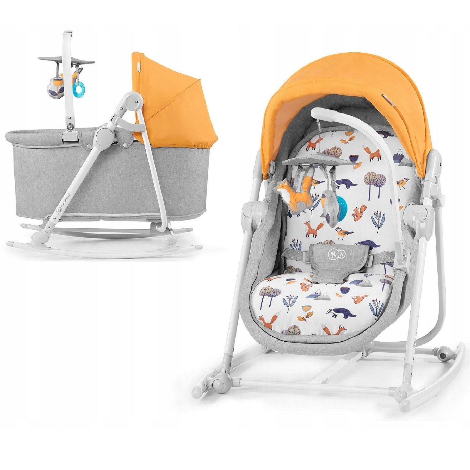 Kinderkraft Unimo 5in1 Forest Yellow Šūpuļkrēsls-gultiņa