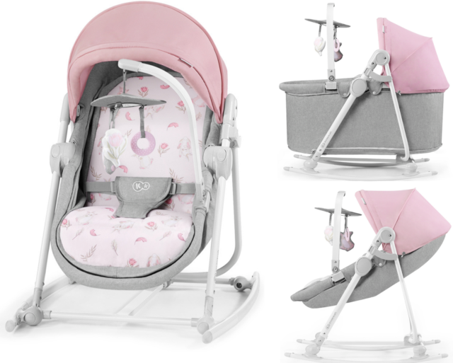 Kinderkraft Unimo 5in1 Peony Rose Šūpuļkrēsls-gultiņa