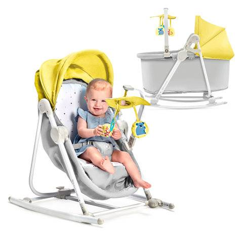 Kinderkraft Unimo 5in1 Yellow Šūpuļkrēsls-gultiņa