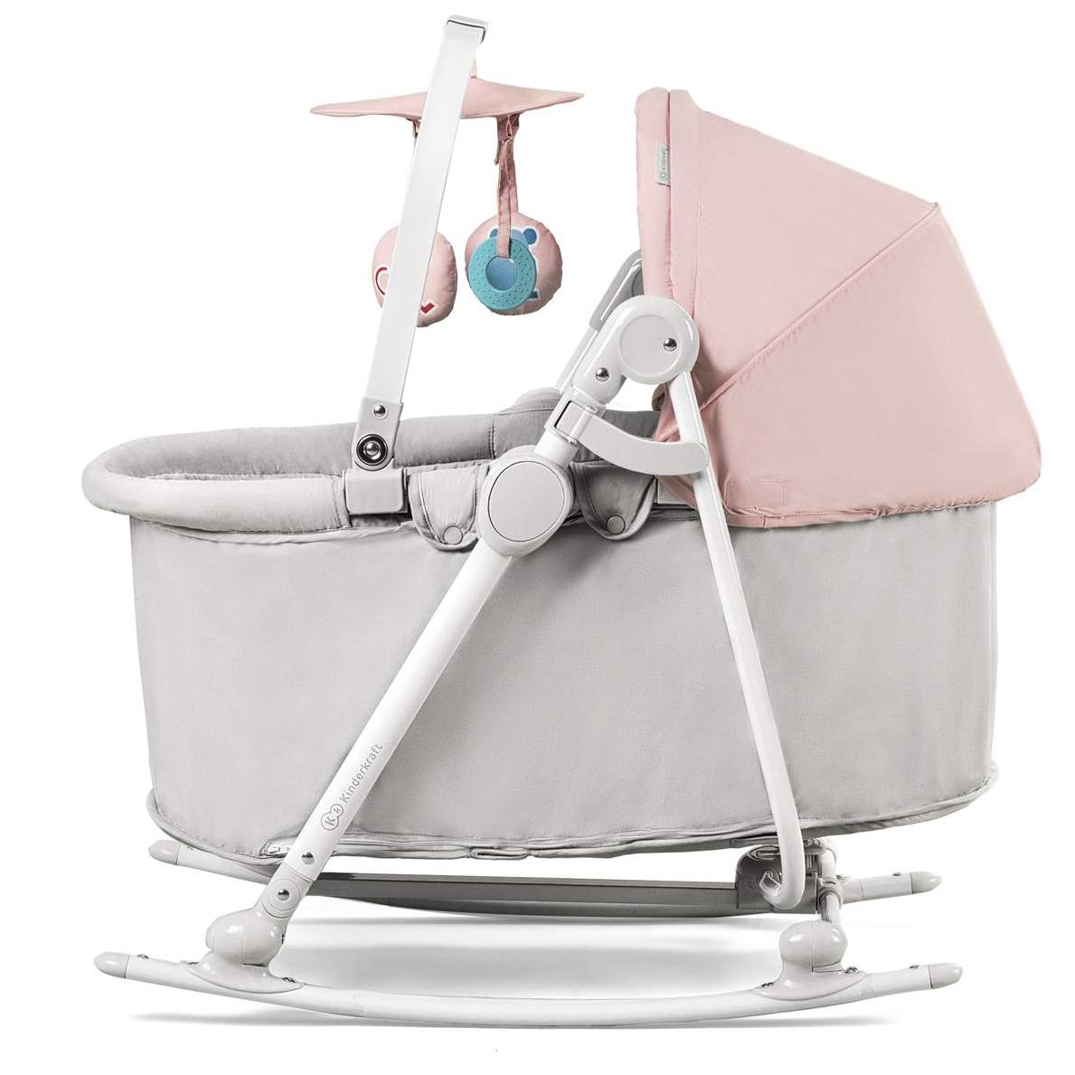 KinderKraft Unimo Pink 5 in 1 Bērnu šūpuļkrēsliņš-gultiņa pieci vienā