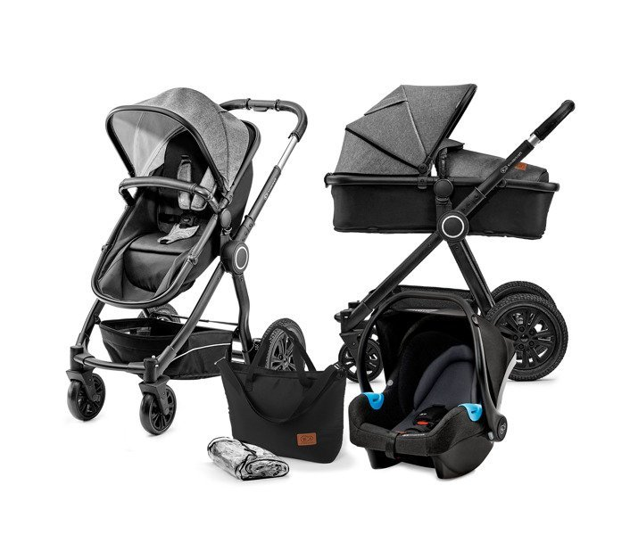 Kinderkraft Veo Black/Grey Bērnu rati 3in1