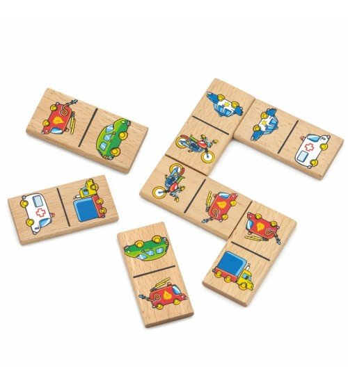 Koka domino ar attēliem Transports VIGA Educational Domino Blocks 59623