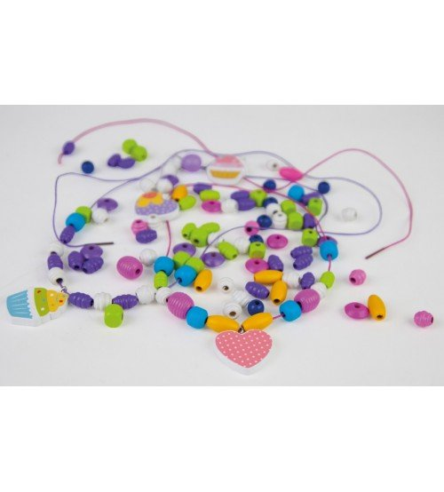 Koka kreļļu izgatavošanas komplekts 206 detaļas rozā/violetas 4+ L32013