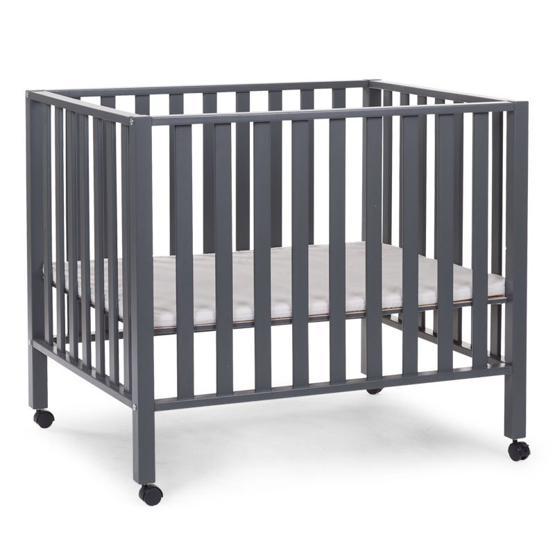 Koka manēža 75x95 сm CHILDHOME Playpen Beech anthracite 94 + wheels