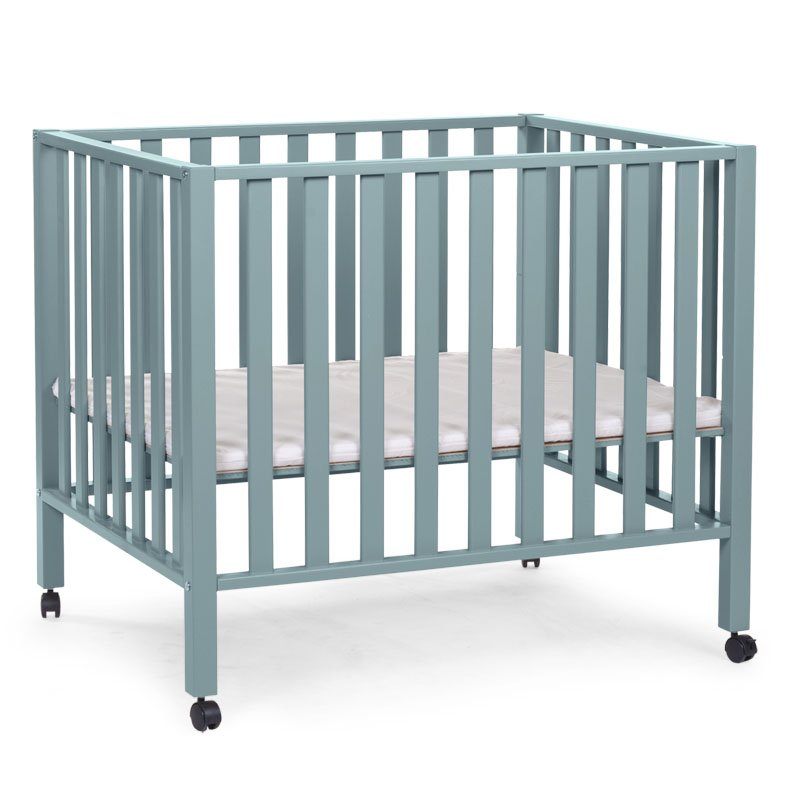 Koka manēža 75x95 сm CHILDHOME Playpen Beech jade green 94 + wheels