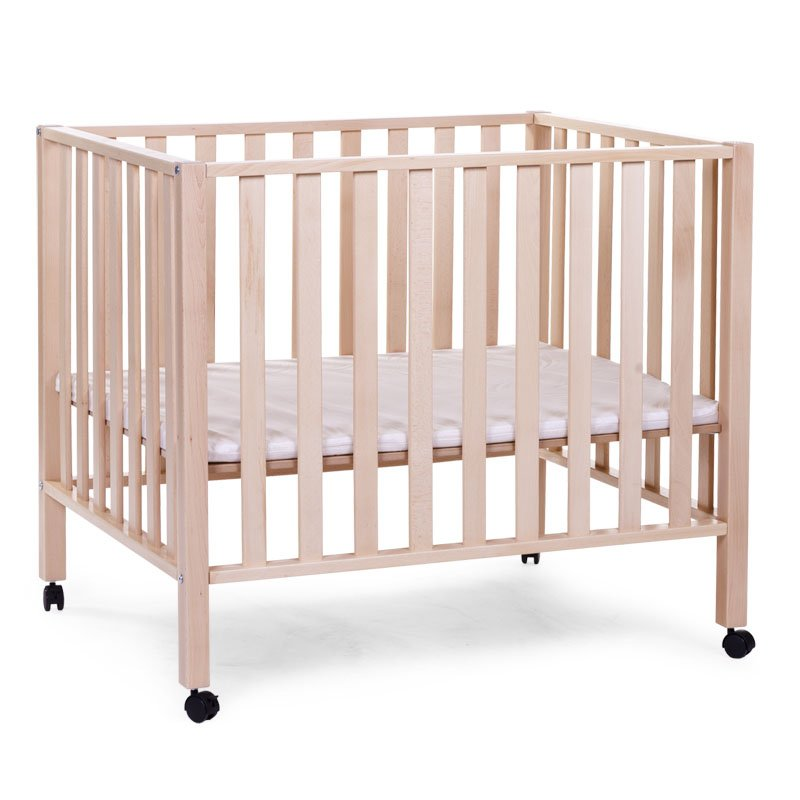 Koka manēža 75x95 сm CHILDHOME Playpen Beech natural 94 + wheels