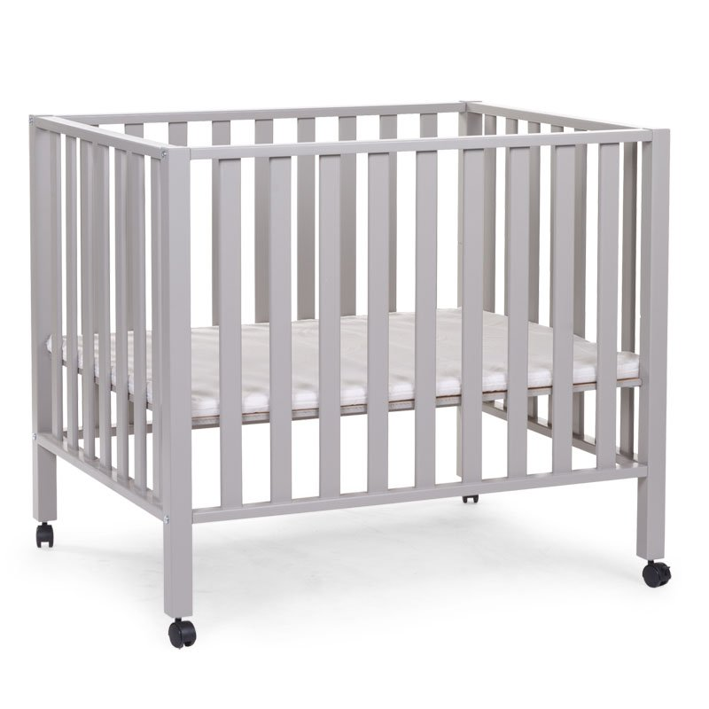 Koka manēža 75x95 сm CHILDHOME Playpen Beech stone grey 94 + wheels