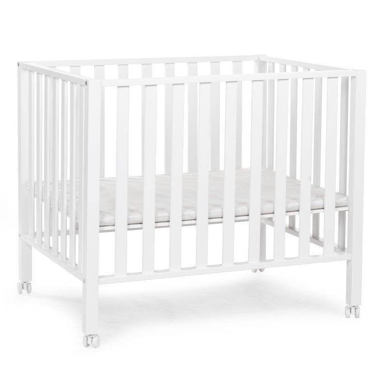 Koka manēža 75x95 сm CHILDHOME Playpen Beech white 94 + wheels