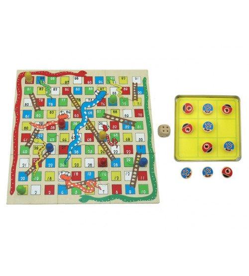 Koka spēle Čūska un kāpnes + Tic Tac Toe 23105