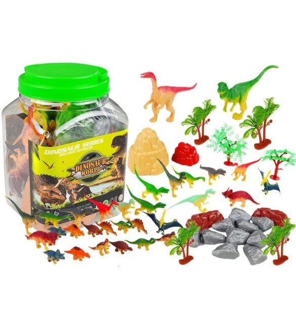 Komplekts: Dinozauri + Aksesuāri burkā: 50 el. LEAN 36775