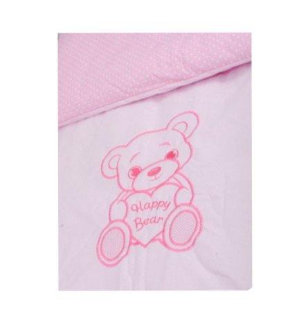 Komplekts ratiem sega + spilvens ANKRAS HAPPY BEAR pink ANKR-HB-P.RAT
