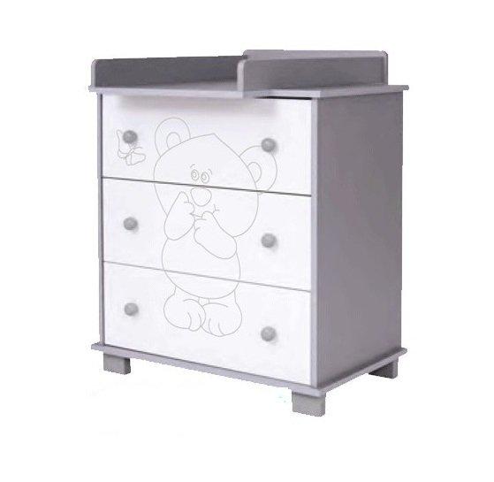 Kumode ar pārtinamo galdiņu Drewex LITTLE BEAR and BUTTERFLY (Motylek) silver