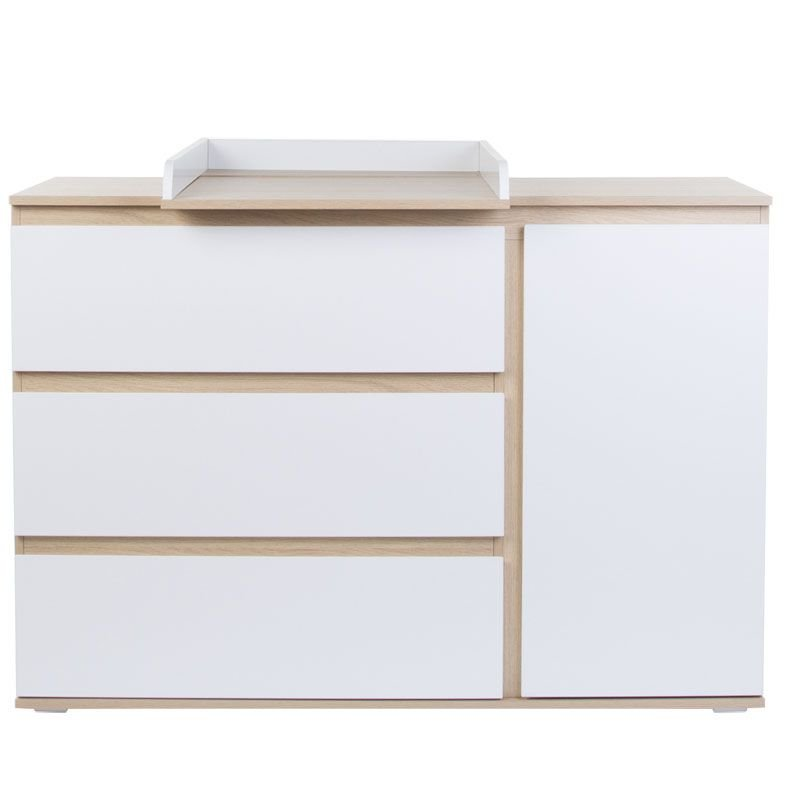 Kumode CHILDHOME Palma White Oak Chest Extra wide 3 + 1 Drawers + Changing Unit