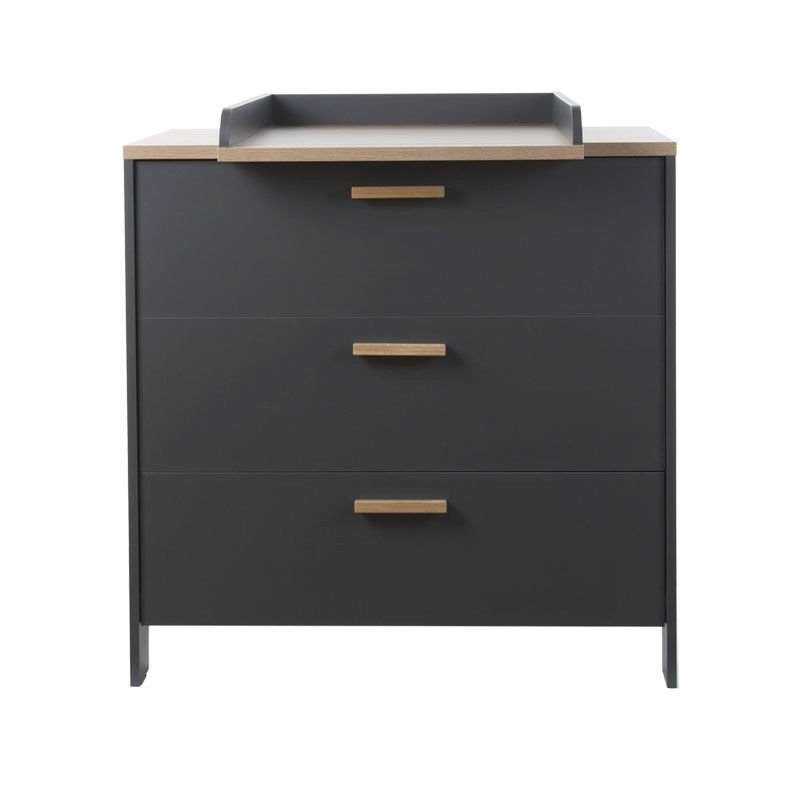 Kumode CHILDHOME Paris Dark Oak Anthra Chest 3 Drawers + Changing Unit