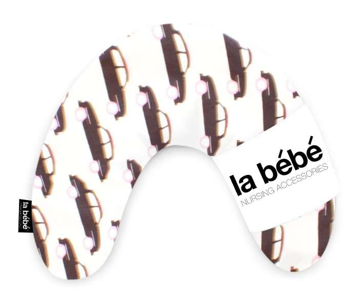 La Bebe Mimi Nursing Cotton Pillow Cars Black-Pink White Pakaviņš spilventiņš 19x46cm