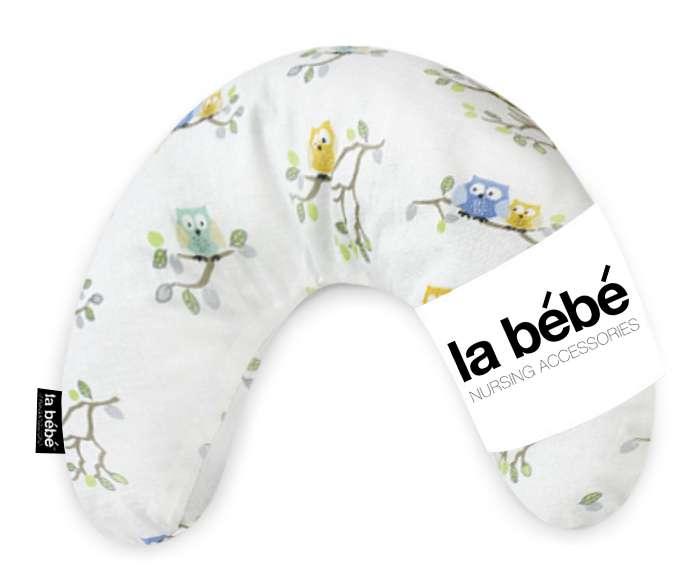 La Bebe Mimi Nursing Cotton Pillow Owls Atbalsta pakaviņš spilventiņš 19x46cm ceļojumiem