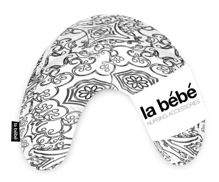 La Bebe Mimi Nursing Cotton Pillow White-Black ornament Atbalsta pakaviņš spilventiņš 19x46cm ceļojumiem