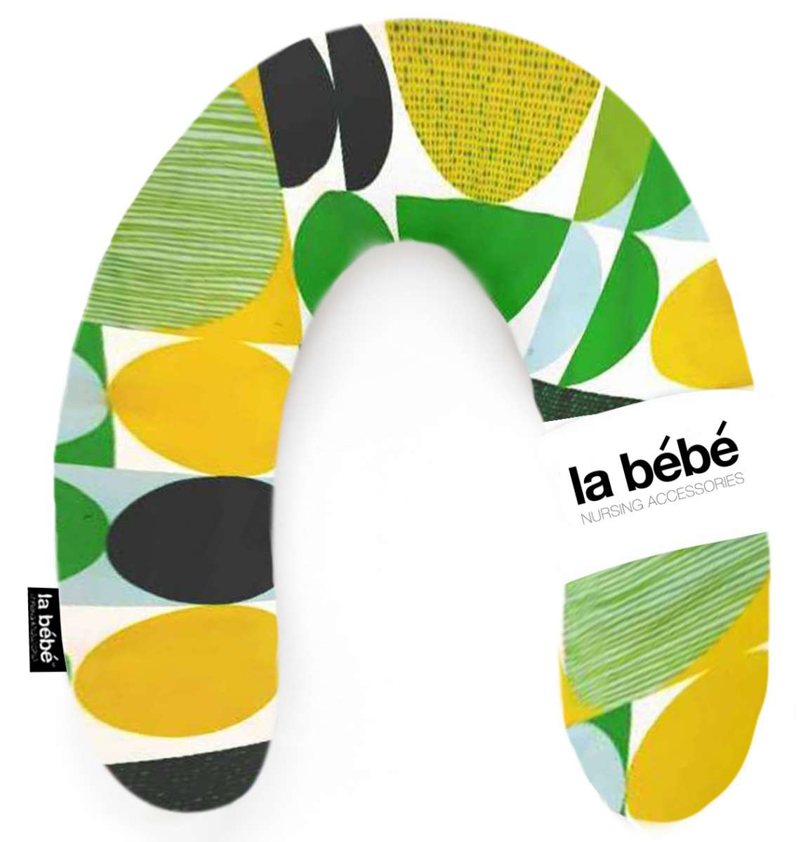 La Bebe Rich Cotton Nursing Maternity Pillow Green yellow circles Pakaviņš pakavs mazuļa barošanai, gulēšanai