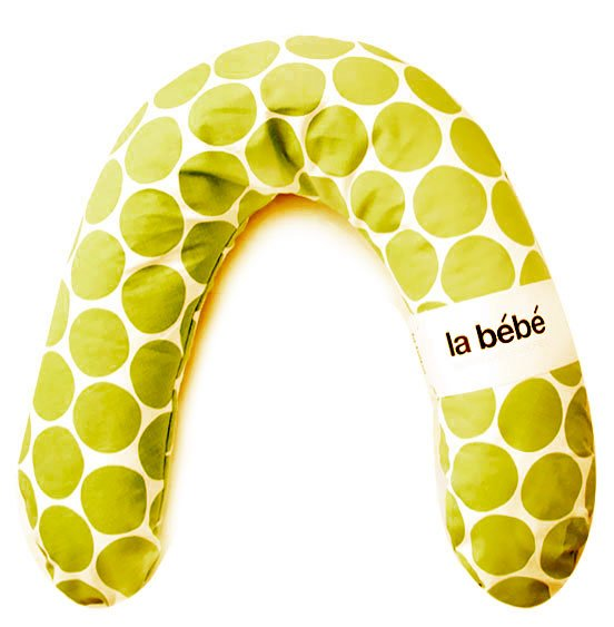 La Bebe Rich Cotton Nursing Maternity Pillow White-Green dots Pakaviņš pakavs mazuļa barošanai, gulēšanai