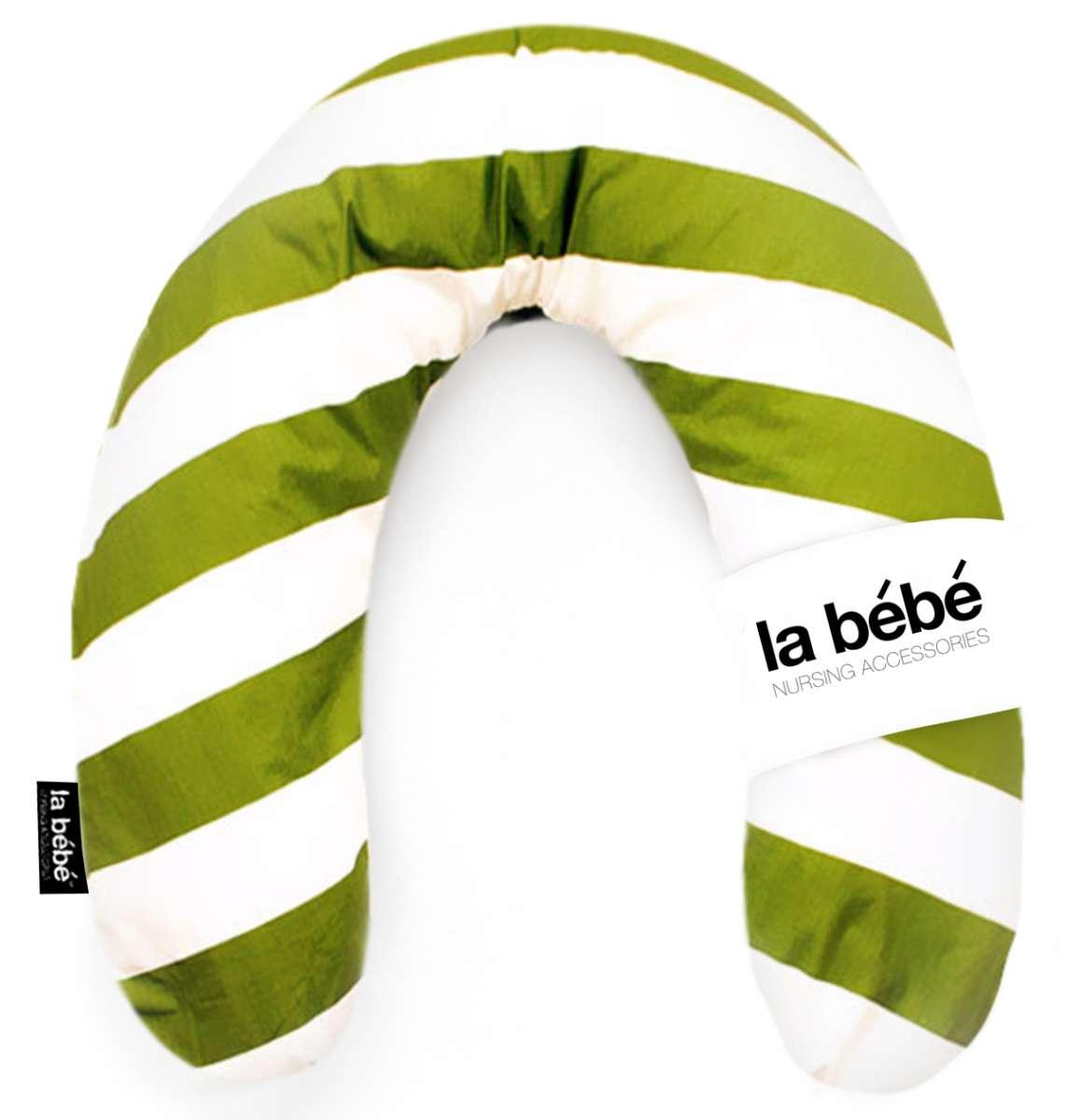 La Bebe Rich Cotton Nursing Maternity Pillow  White-Green Pakaviņš mazuļa barošana, gulēšanai