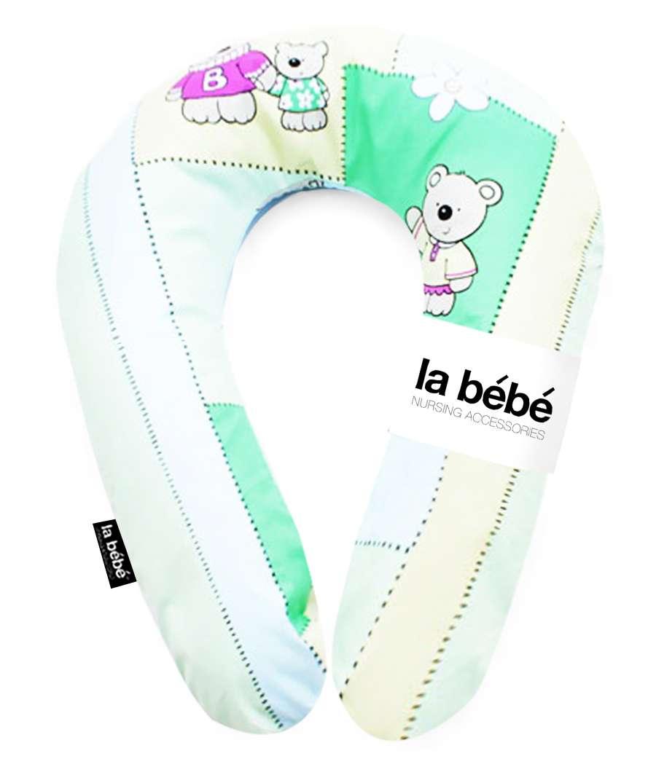 La Bebe Snug Cotton Nursing Maternity Pillow Green Bears Pattern 20x70cm Pakaviņš mazuļa barošanai, gulēšanai