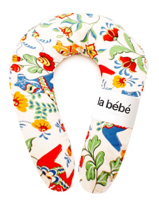 La Bebe Snug Cotton Nursing Maternity Pillow Swedish Multicolor Dala Horse Pakaviņš mazuļa barošanai,  gulēšanai 20x70