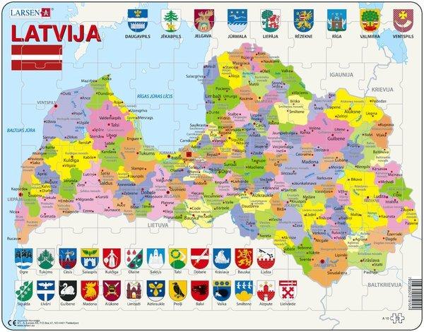 Larsen Puzzle Latvia Political Puzle Latvijas karte 70 gb.