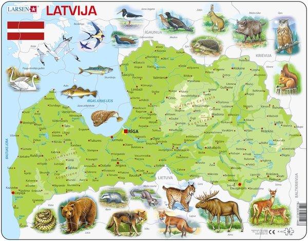 Larsen Puzzle Latvijas karte ar dzīvniekiem 48 gb.