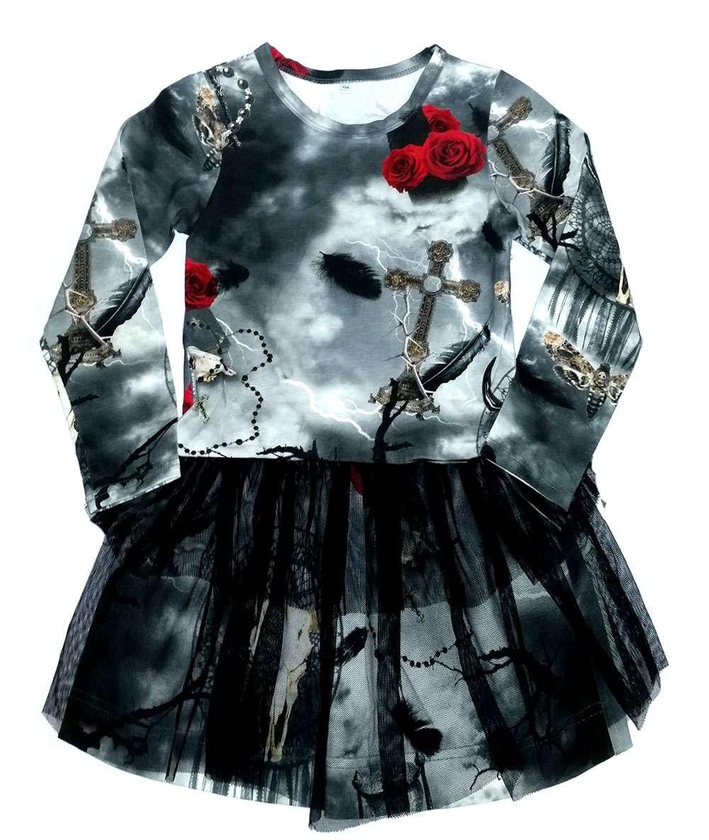 Lenne Katty Meiteņu kokvilnas kleita ar garajām piedurknēm